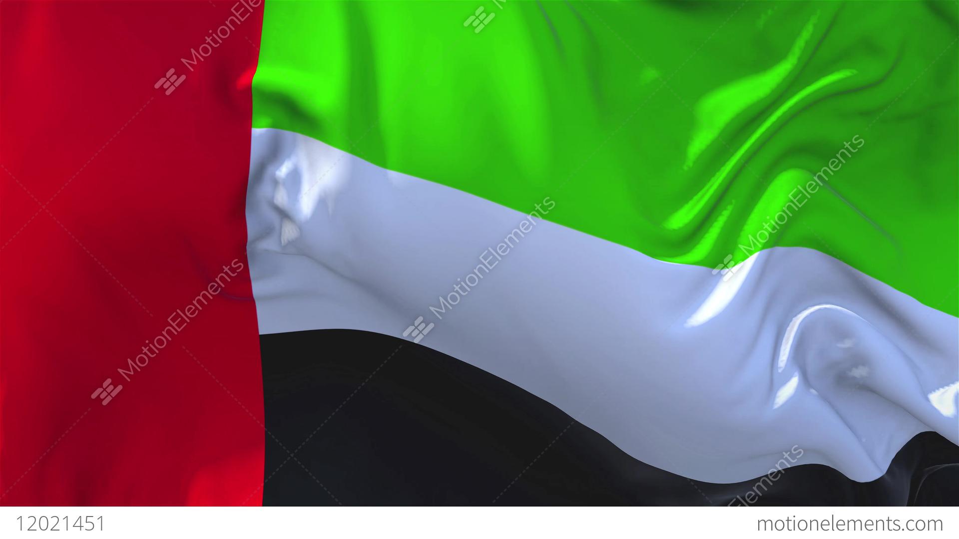 140 united arab emirates flag waving continuous seamless loop