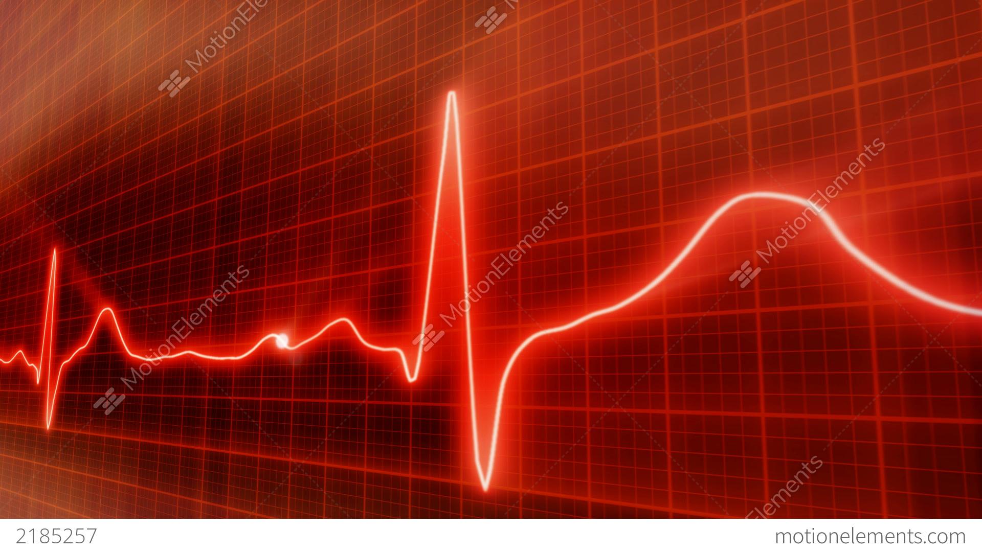 seamless loop red background ekg electrocardiogram stock