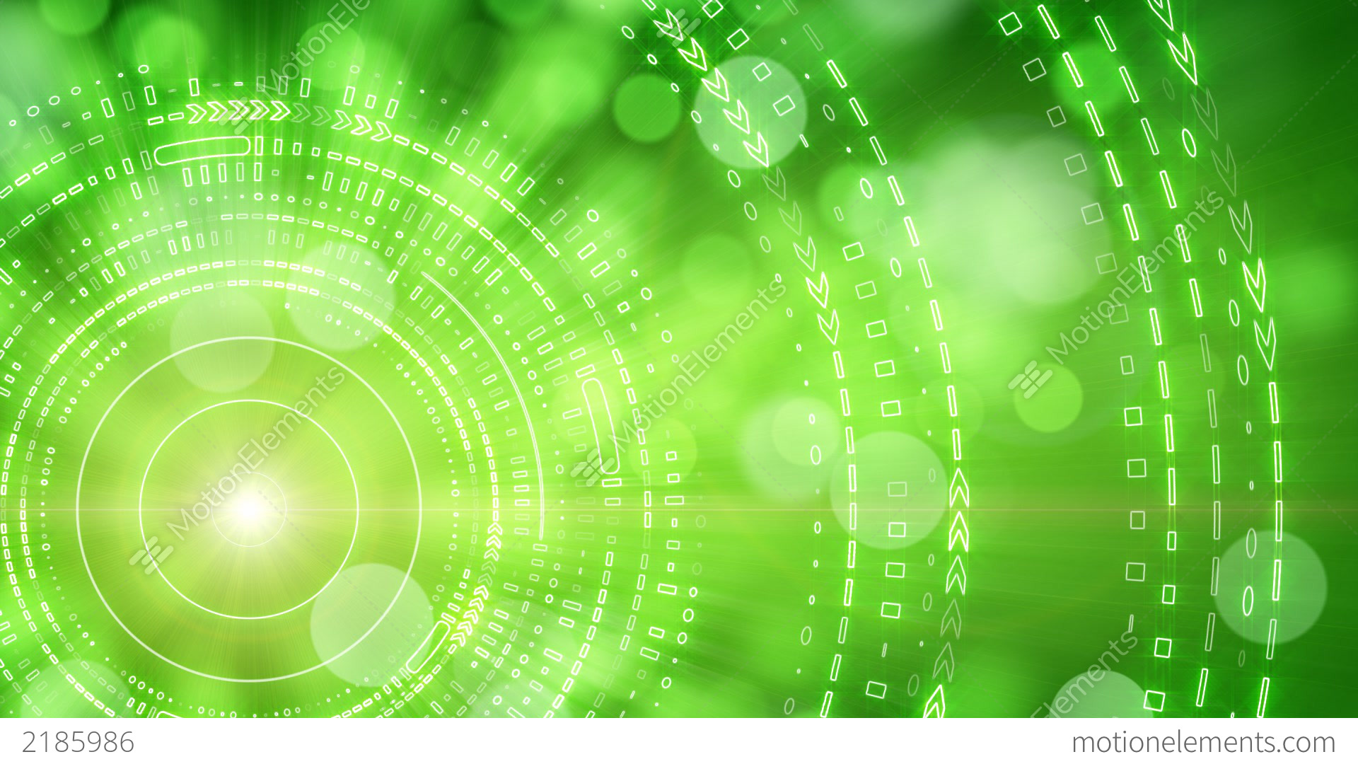 Green Abstract Background Lights And Tech Circles Stock