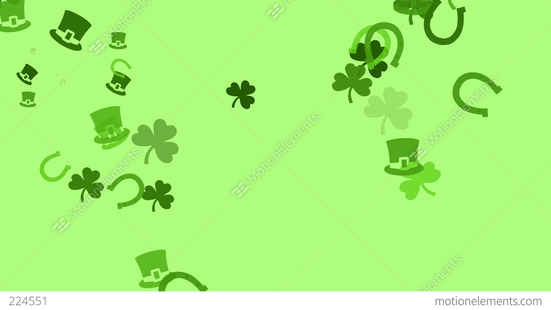 Various Irish Symbols Are Drifting Across Screen High Definition
