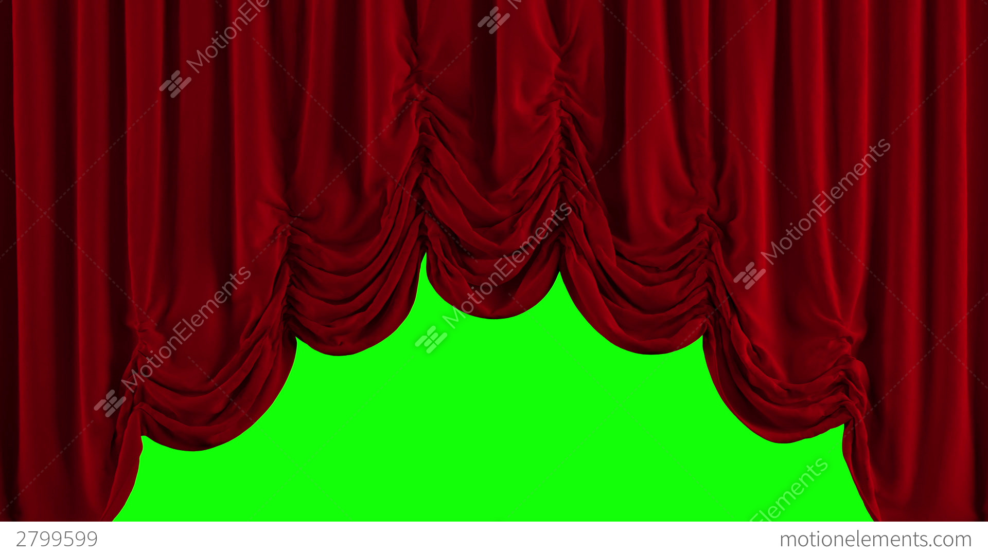 Old Fashioned House Red Austrian Stage Curtain Go Up And Down Stock Animation