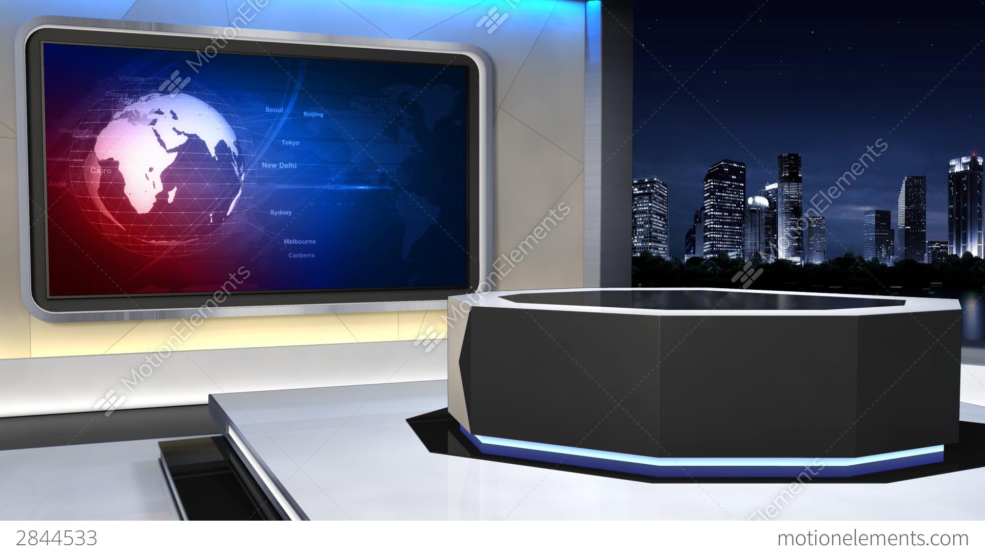 News Studio 99 C 3 HD Stock Video Footage