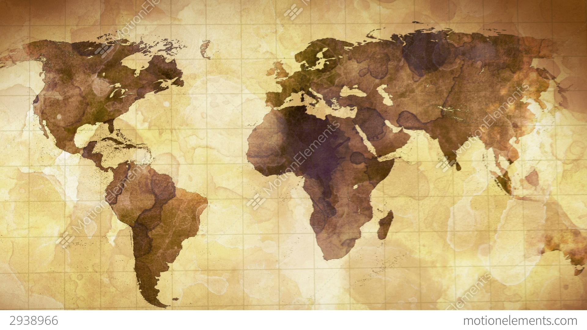 Vintage Grunge World Map Animation Stock Animation 2938966