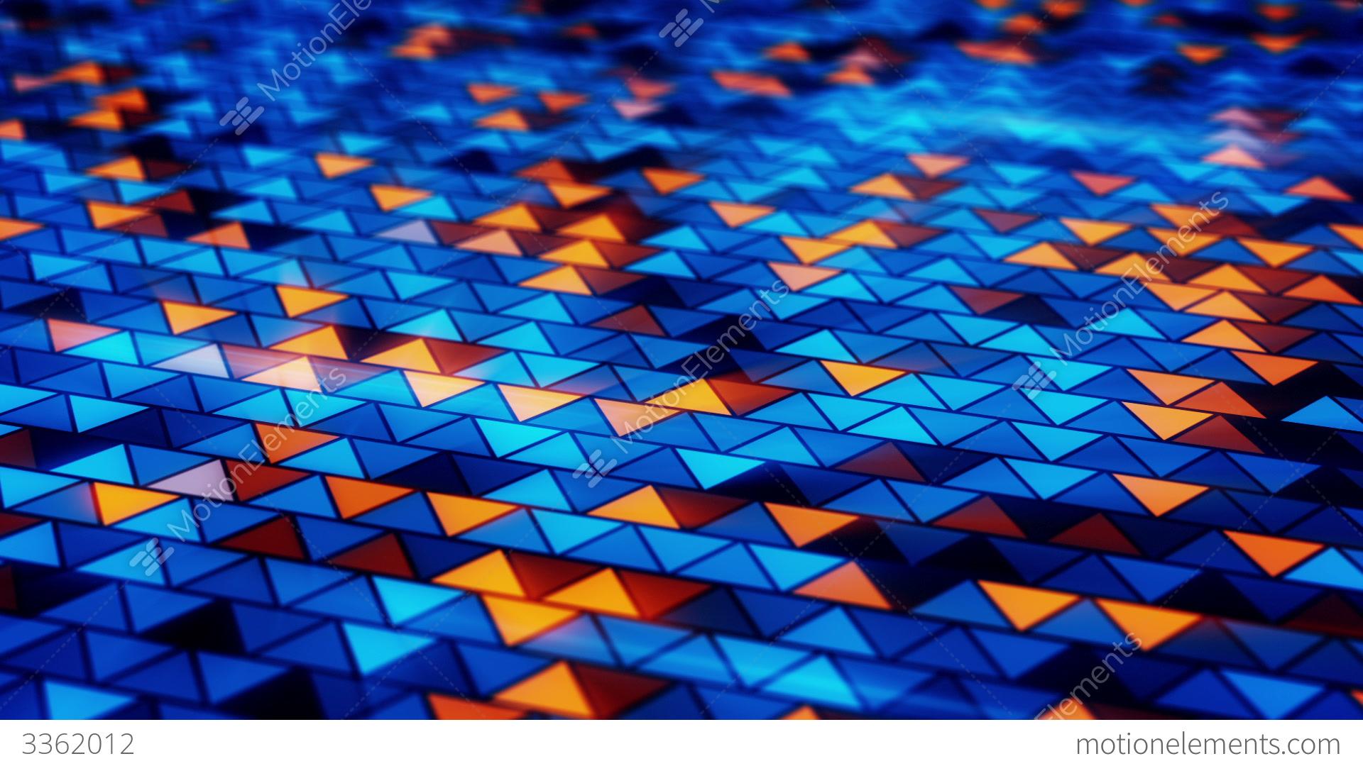 Blue And Orange Background: Blinking Blue Orange Triangles Loopable Background Stock
