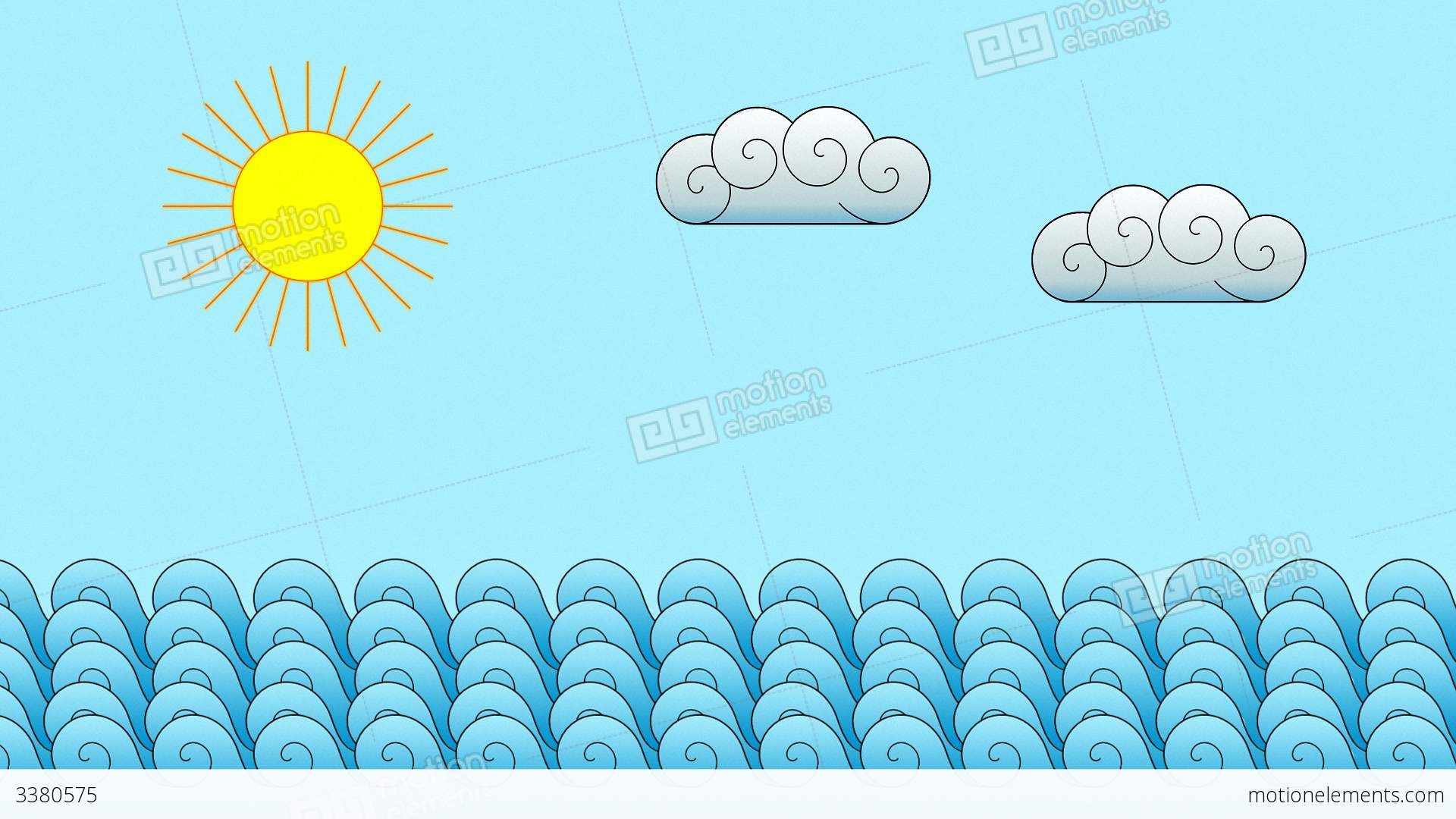 cartoon ocean motion background stock animation 3380575