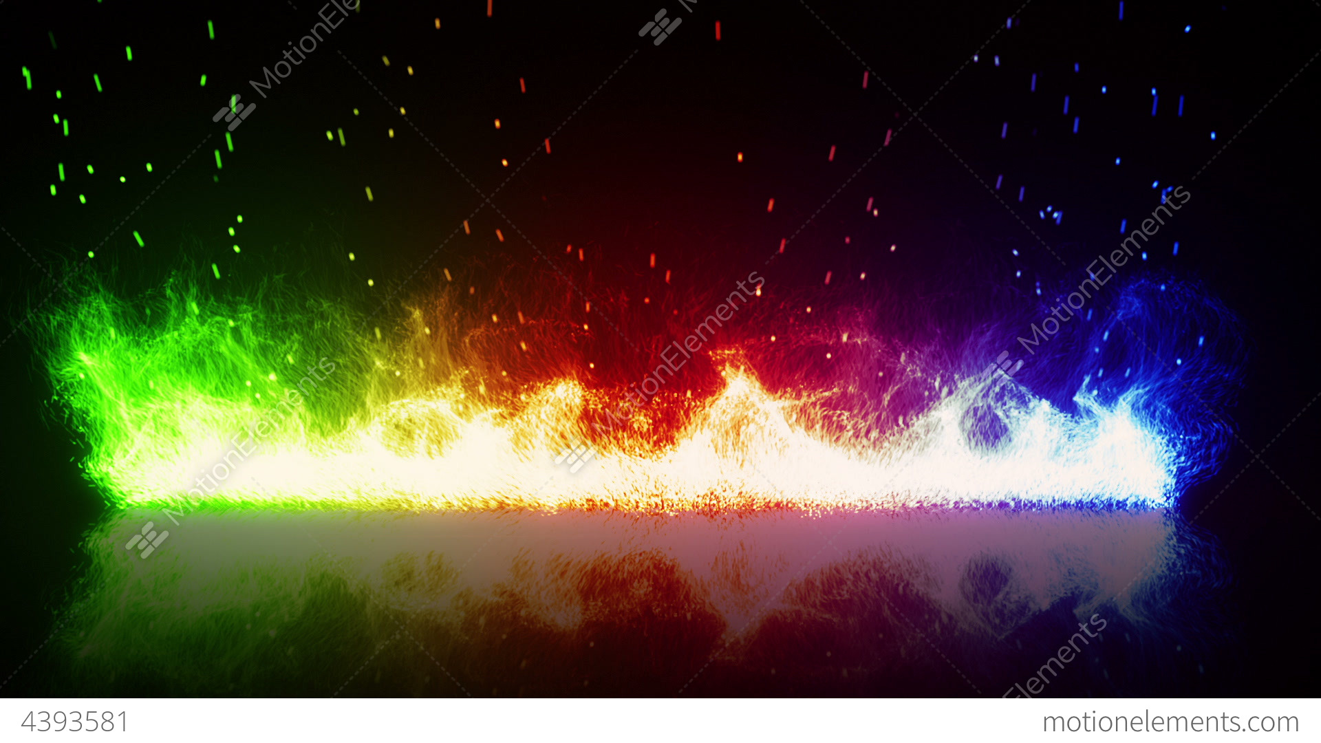rainbow flaming fire and reflection loop stock animation 4393581