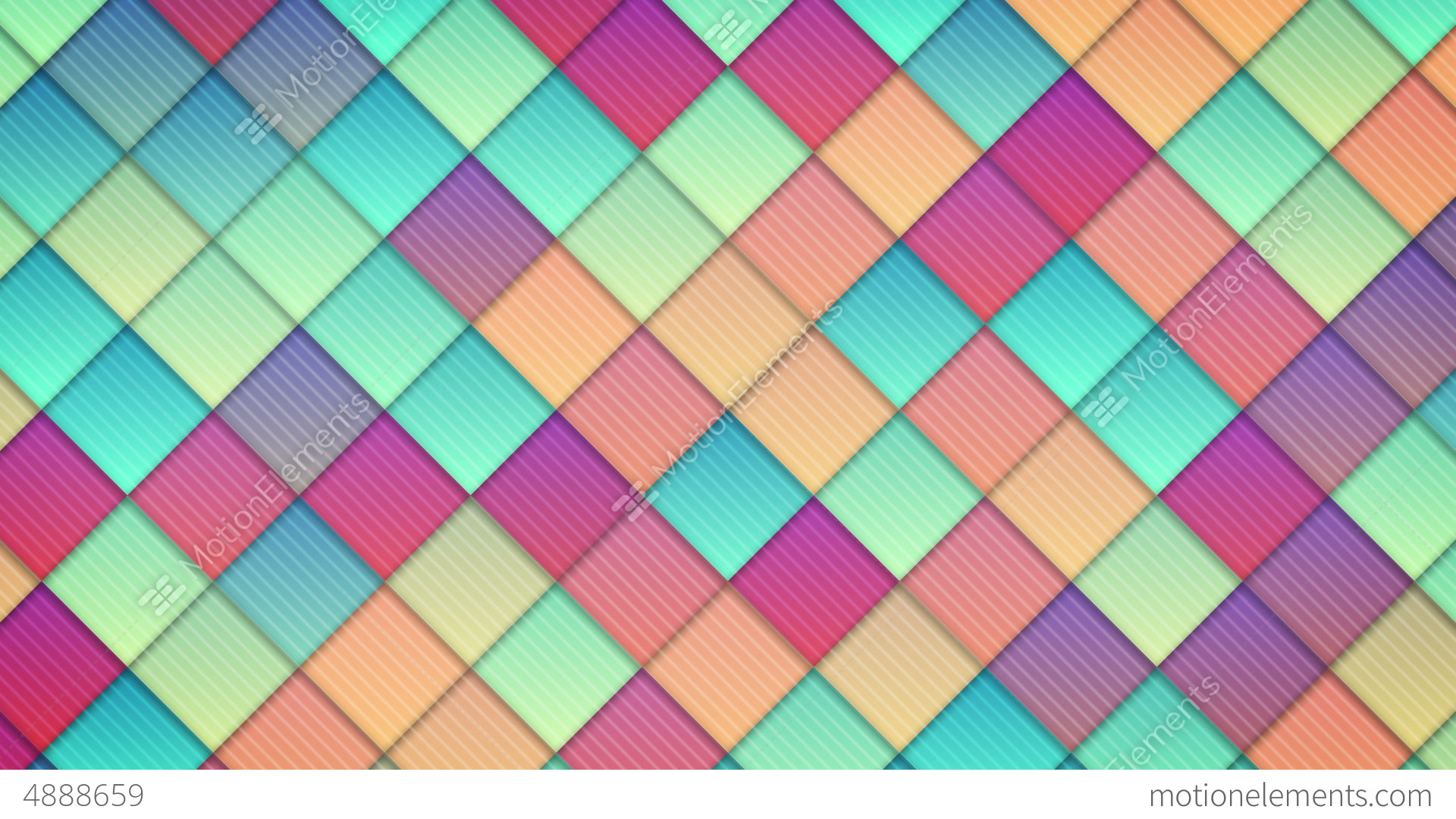Aninimal Book: Geometric Pattern Of Colorful Squares Loop Stock Animation | 4888659