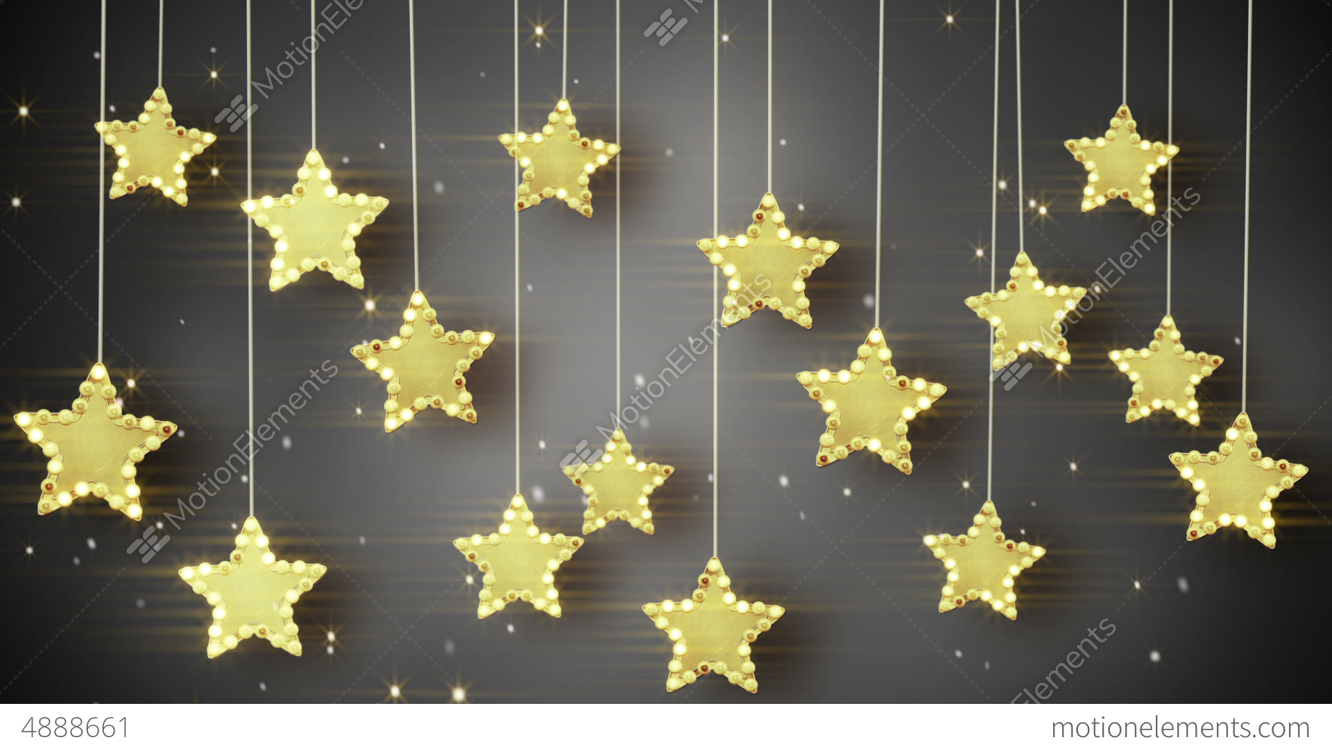 Gold Hanging Stars Christmas Lights Loop Stock Animation