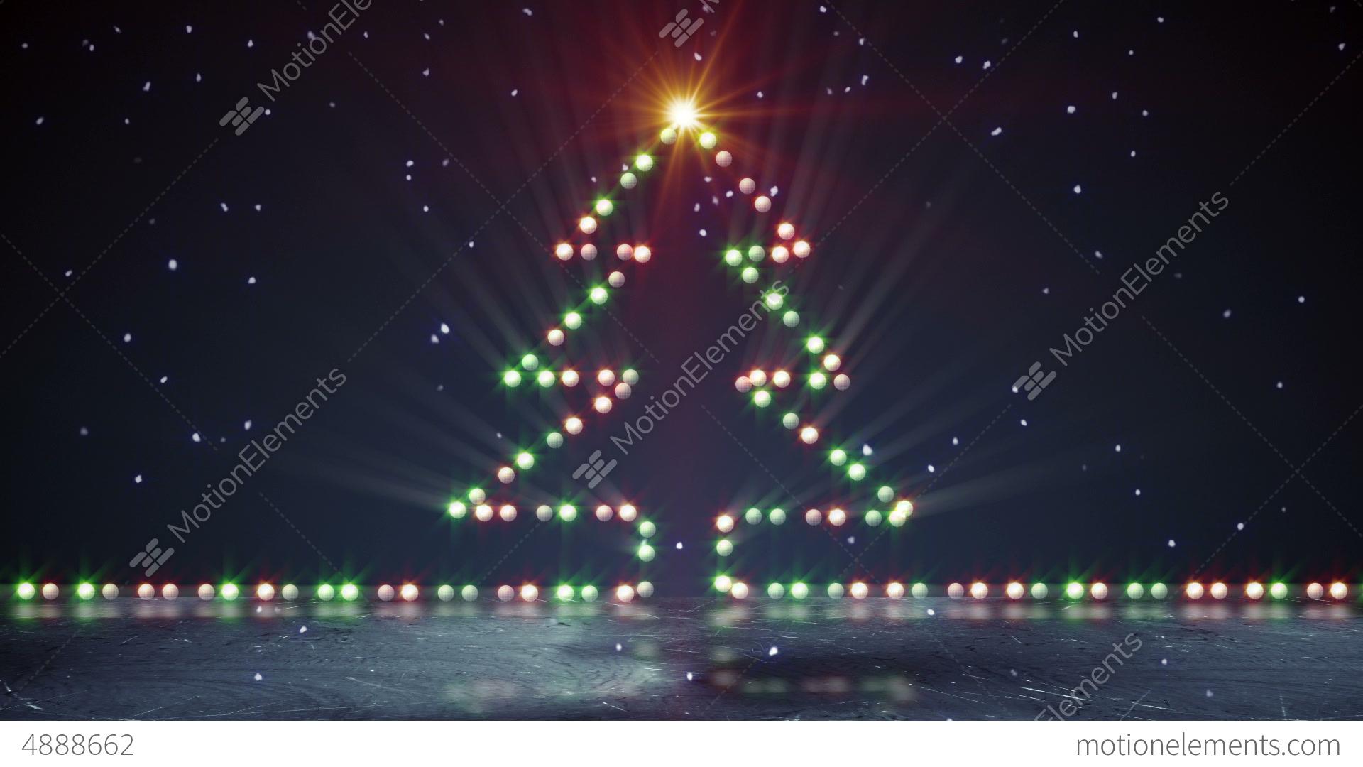 Christmas Tree Shape Lights On Ice Loopable Stock Video Footage