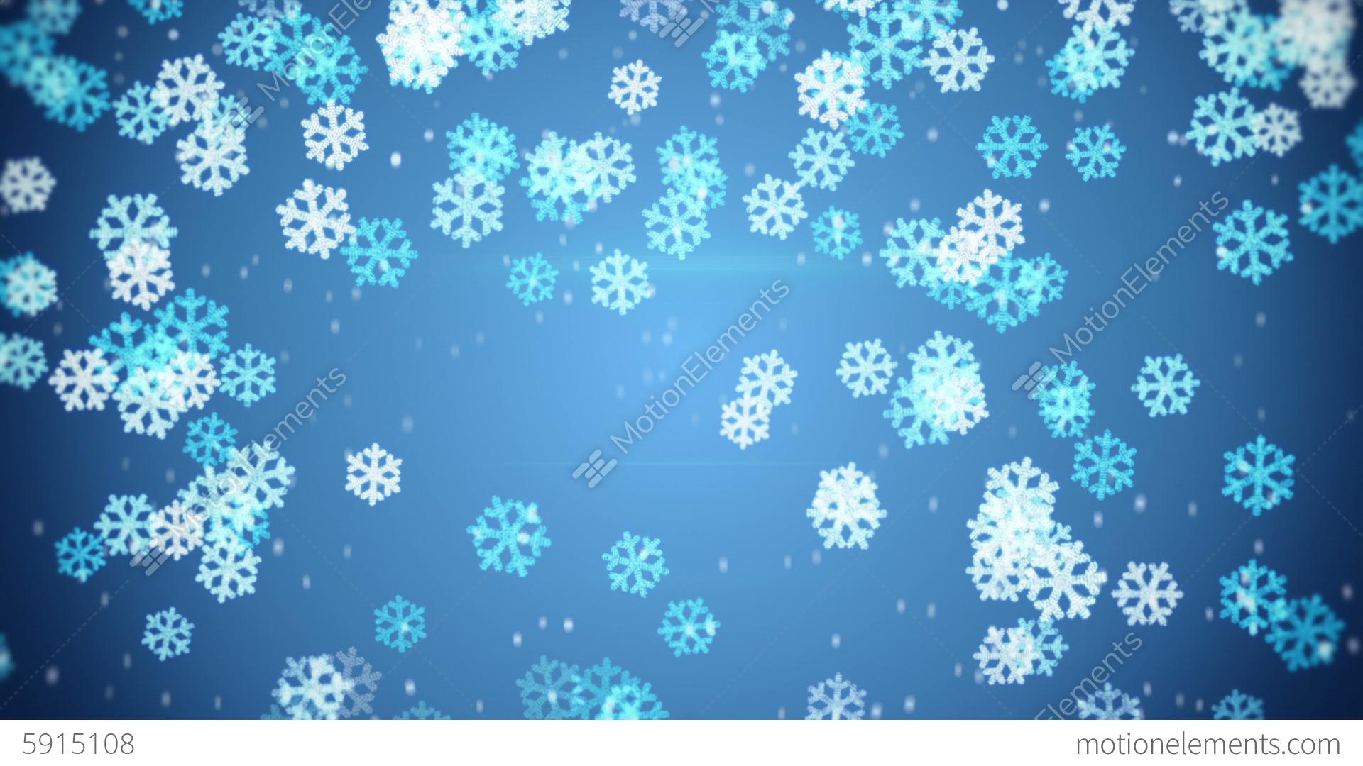 blue glowing snowflakes falling loop background stock
