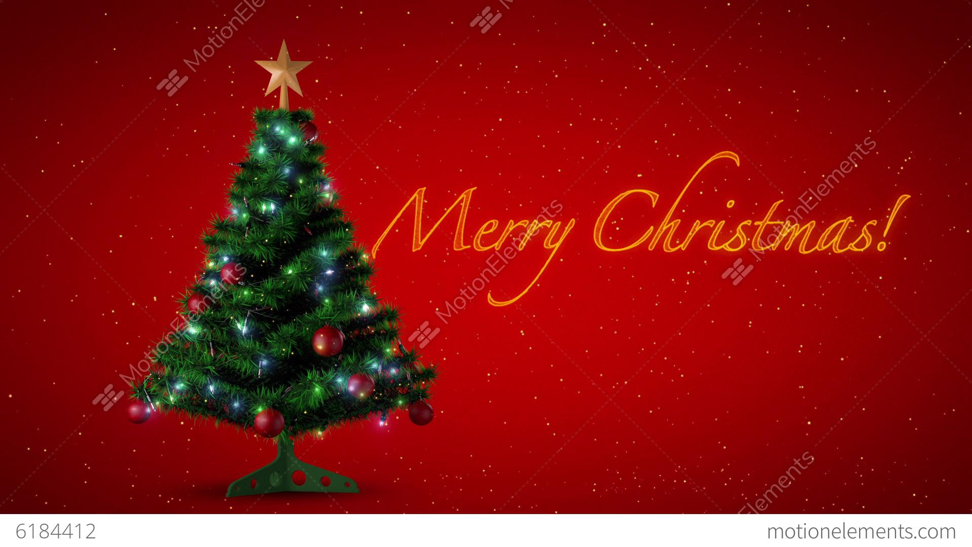 Christmas Tree With Merry Christmas Text Stock Animation