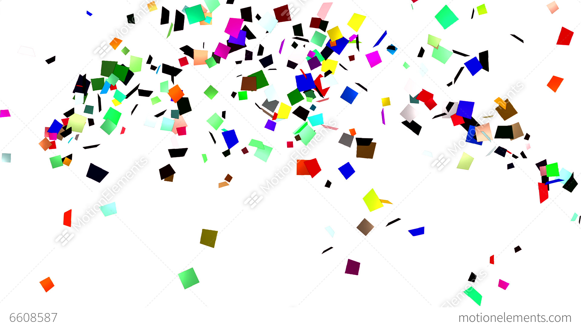 Volleys of confetti on white background stock animation