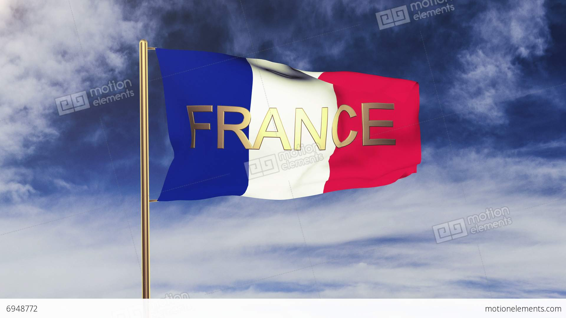 france flag with title france waving in the wind looping sun rises