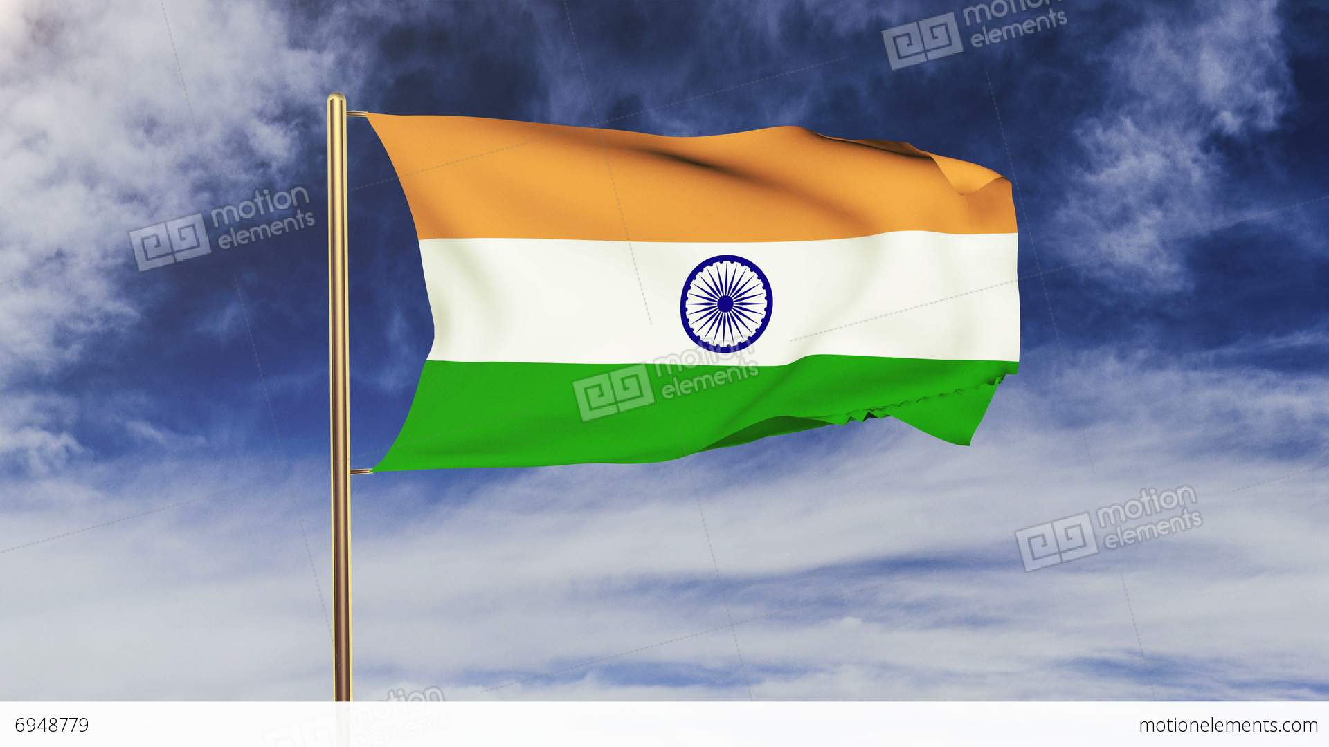 Indian Animated Flag Waving: India Flag Waving In The Wind. Green Screen, Alpha Matte