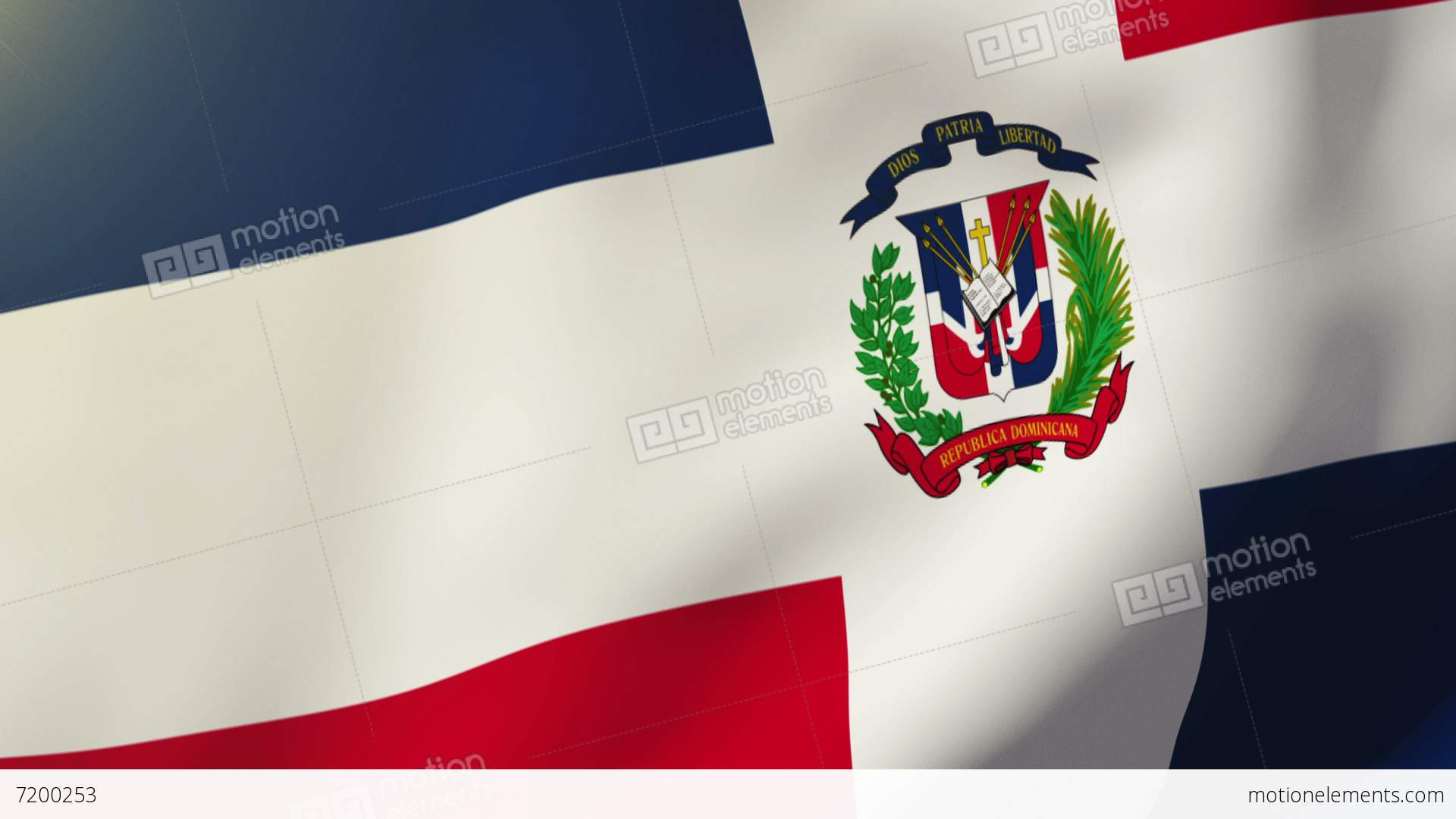 Dominican Republic Flag Waving In The Wind Looping Sun Rises Style