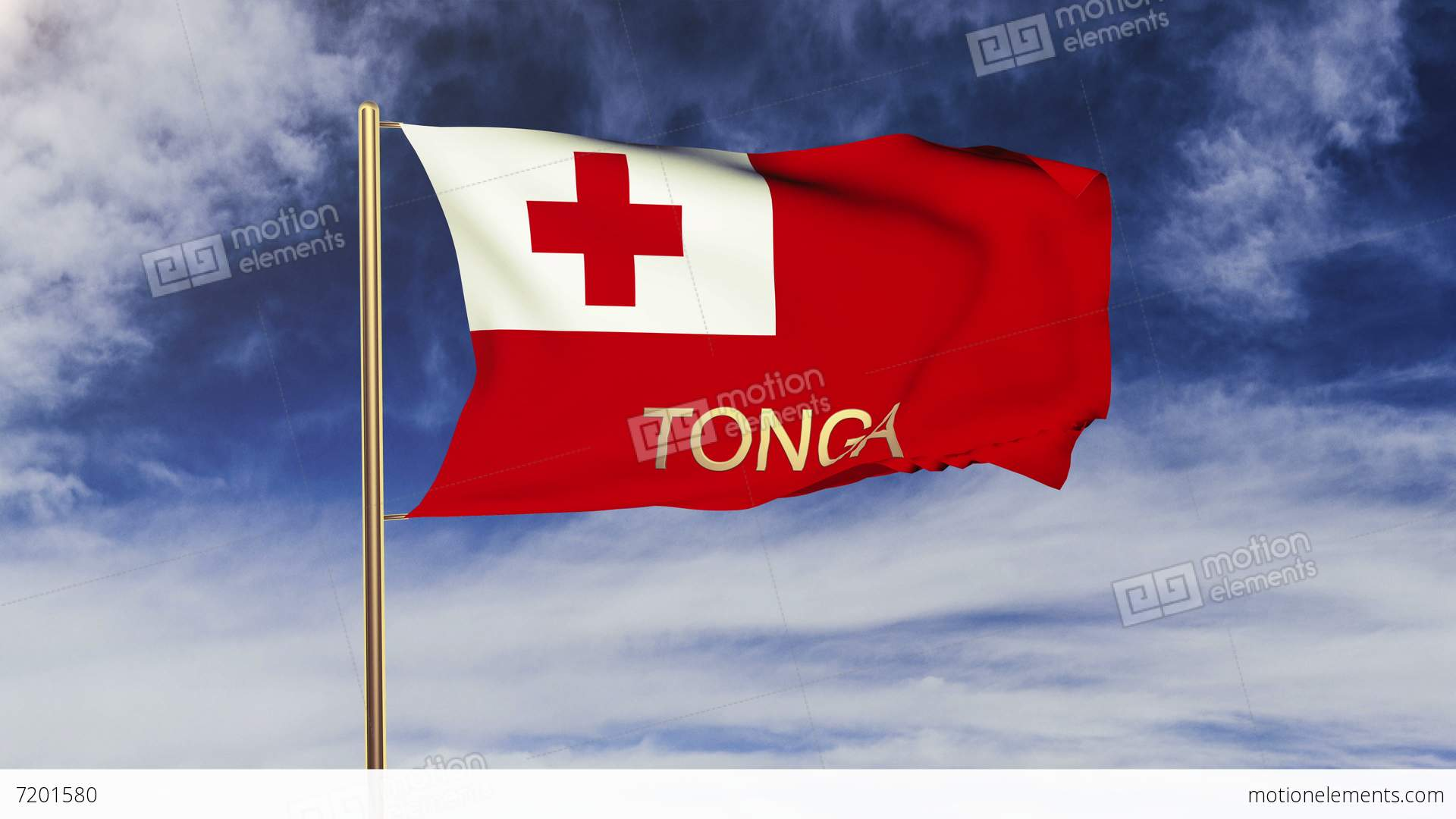 Tonga Flag With Title Waving In The Wind Looping Sun Stock Video