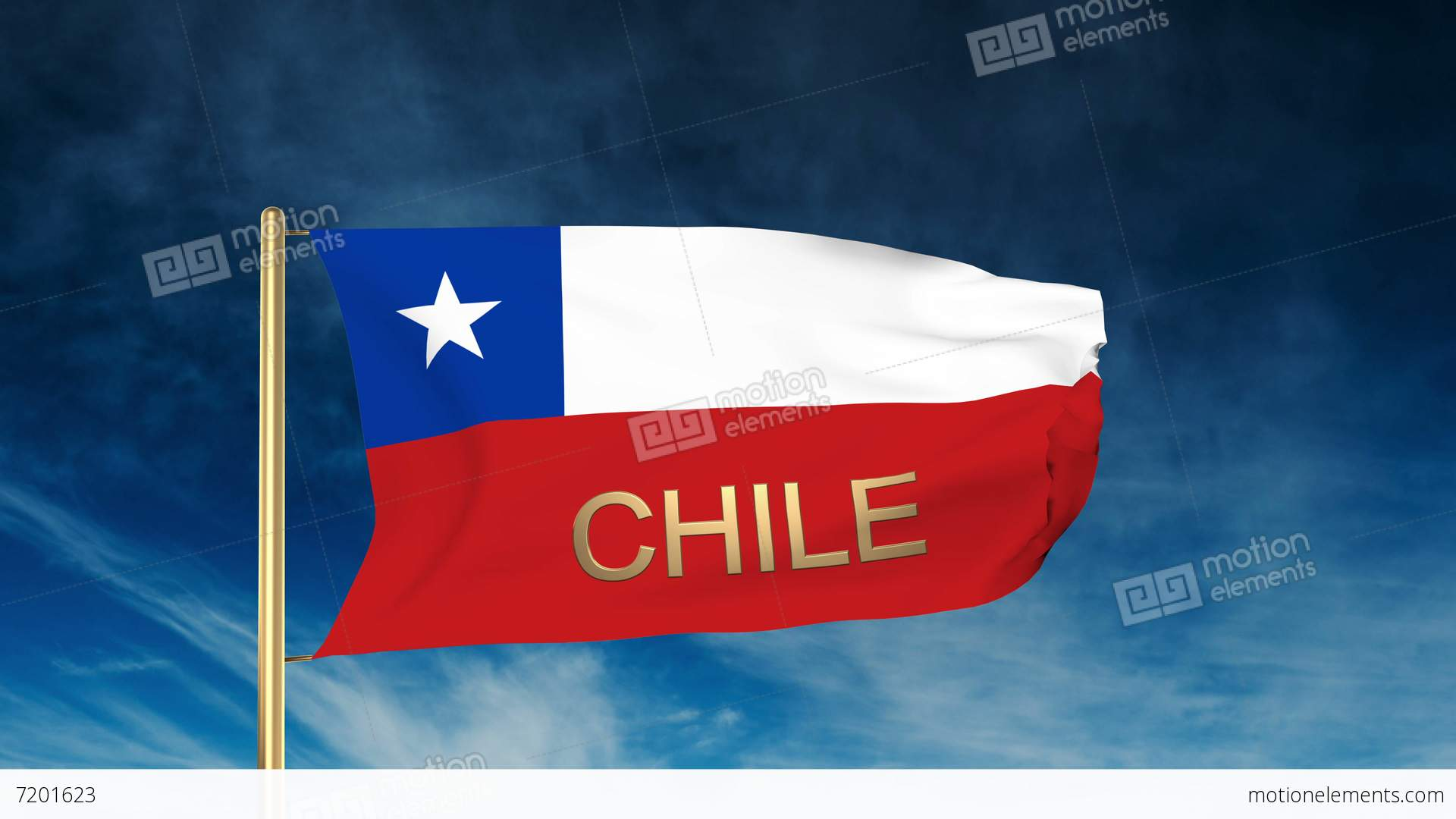 chile flag slider style with title  waving in the wind
