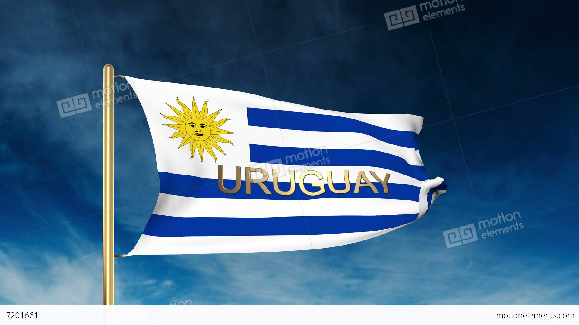 Uruguay Flag Slider Style With Title Waving In The Wind With - Uruguay flag