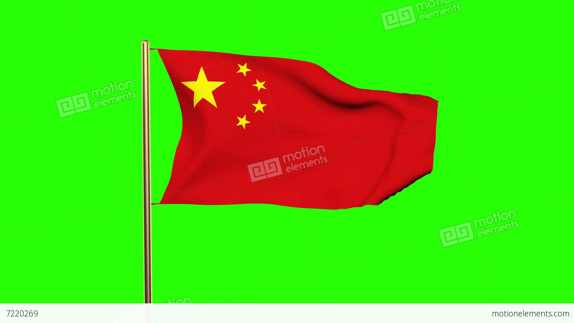 China Flag With Cloud Waving In The Wind Green Screen Alpha - China flag