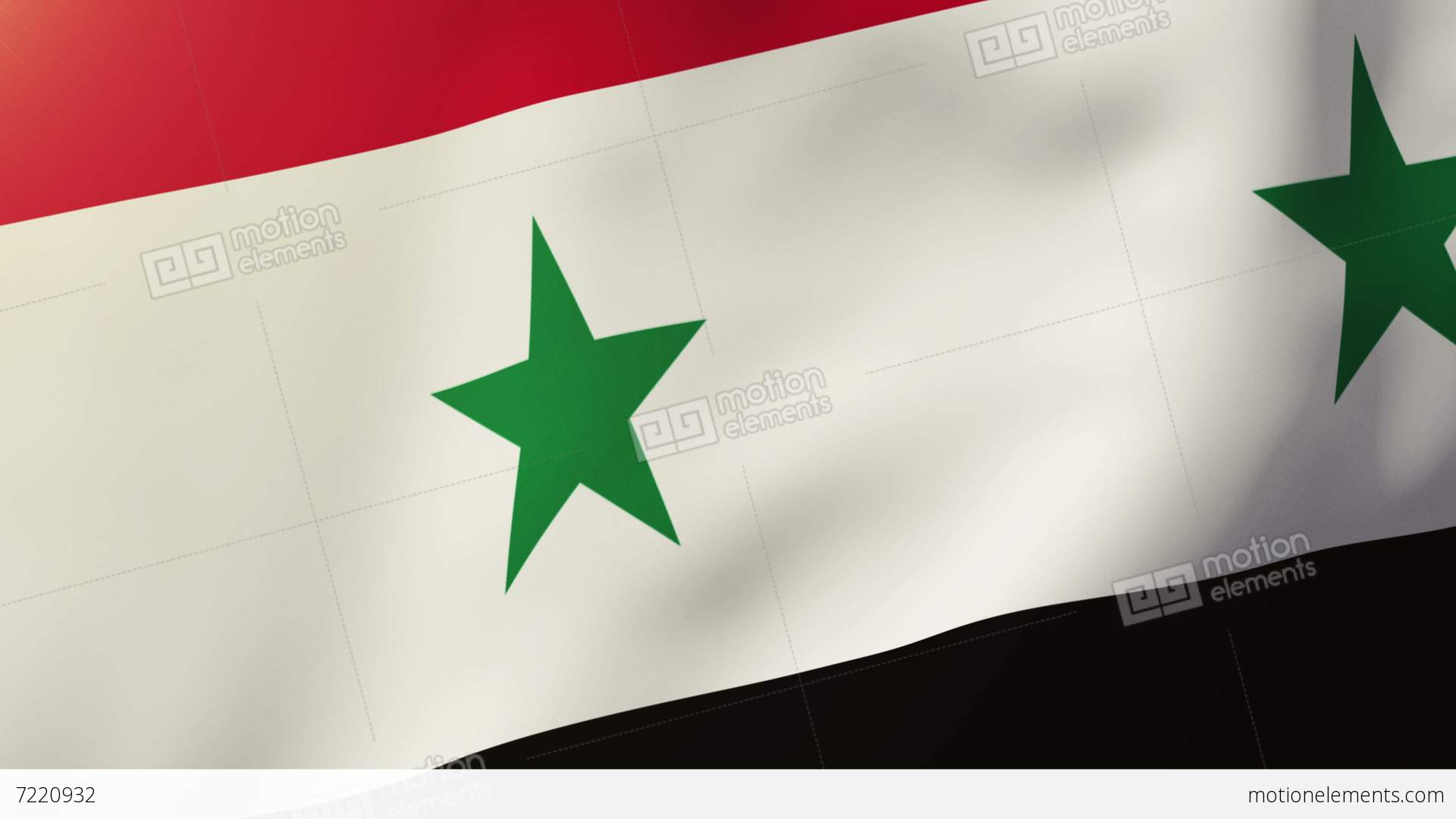 Syria Flag Waving In The Wind Looping Sun Rises Style Animation - Syria flag
