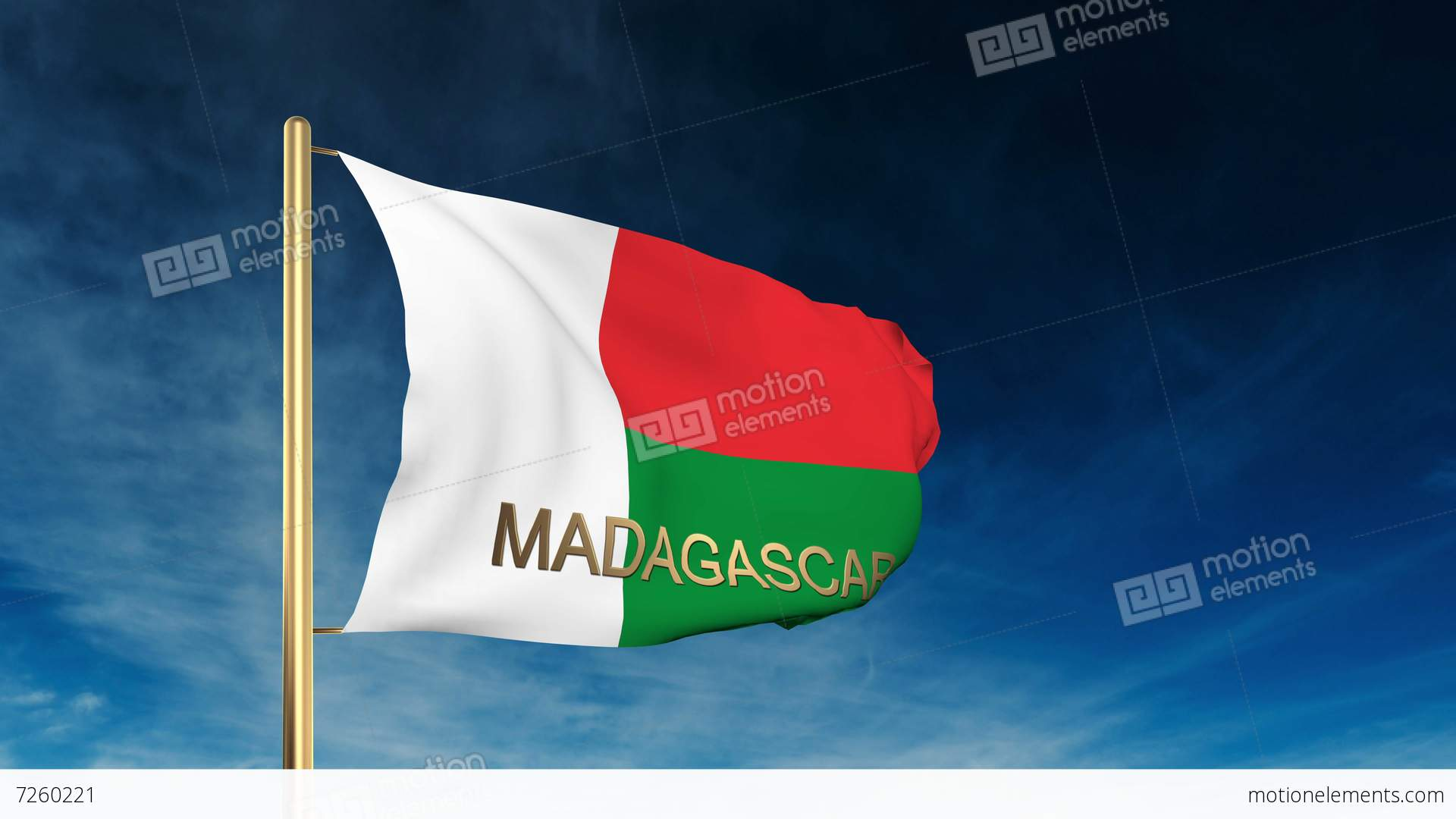 Madagascar Flag Slider Style With Title Waving In The Wind With - Madagascar flag