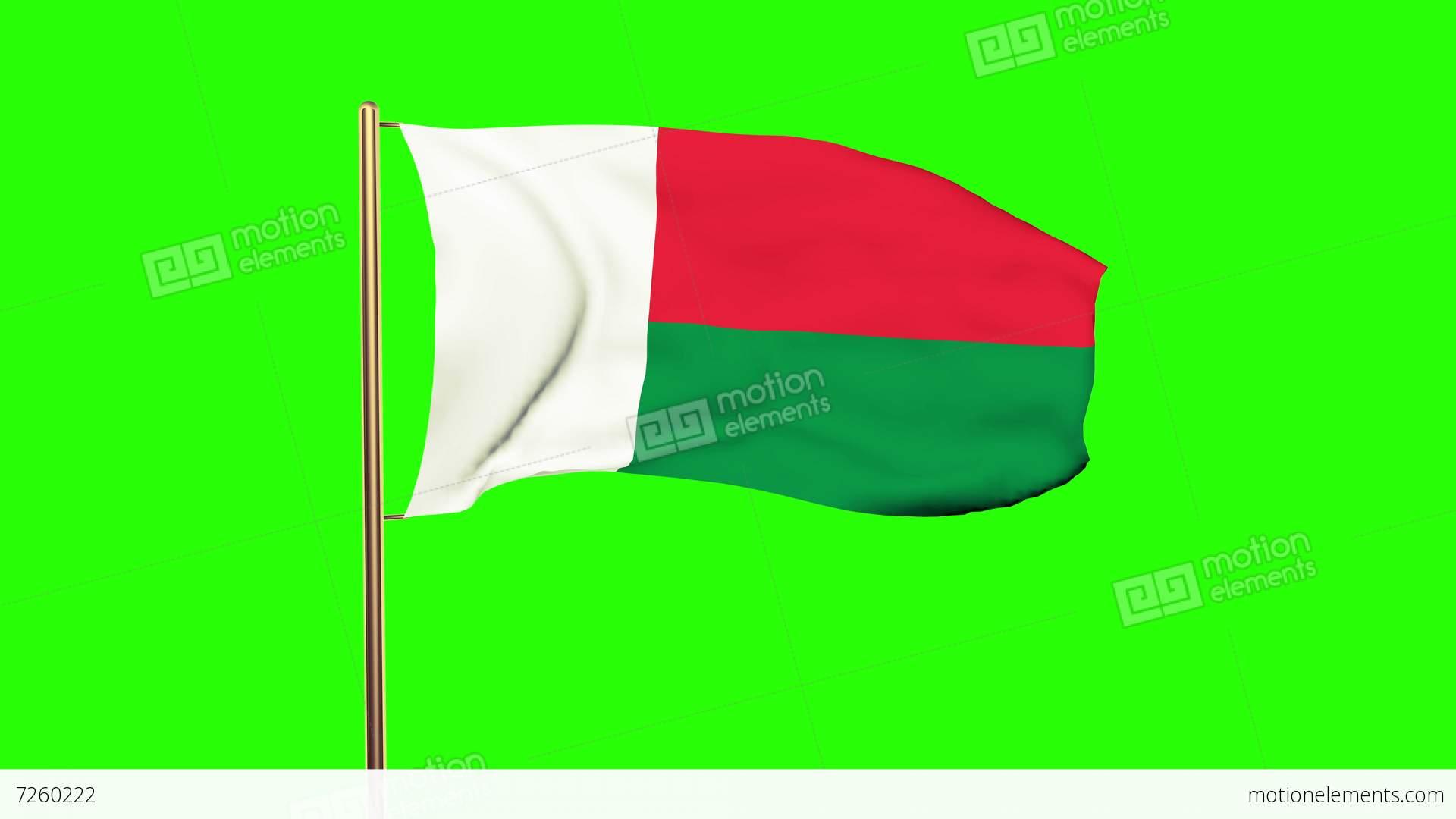 Madagascar Flag Waving In The Wind Green Screen Alpha Matte - Madagascar flag
