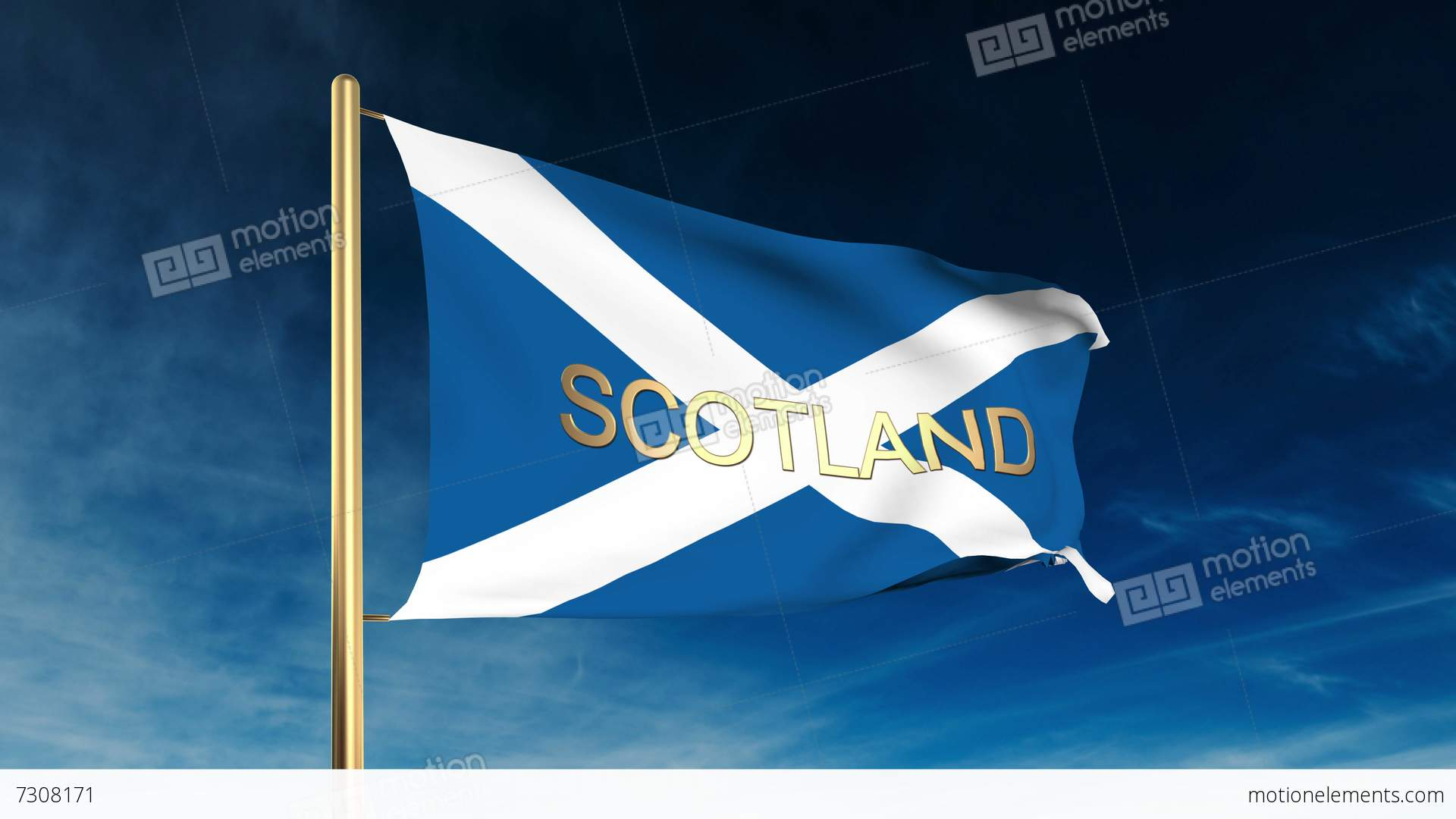 scotland flag slider style with title waving in the wind with