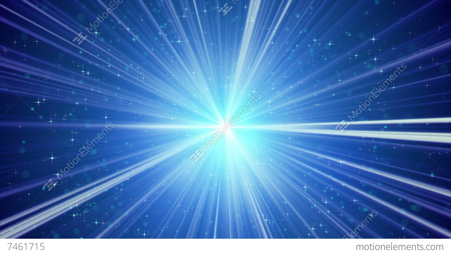 blue shining light rays and stars loopable background 4k