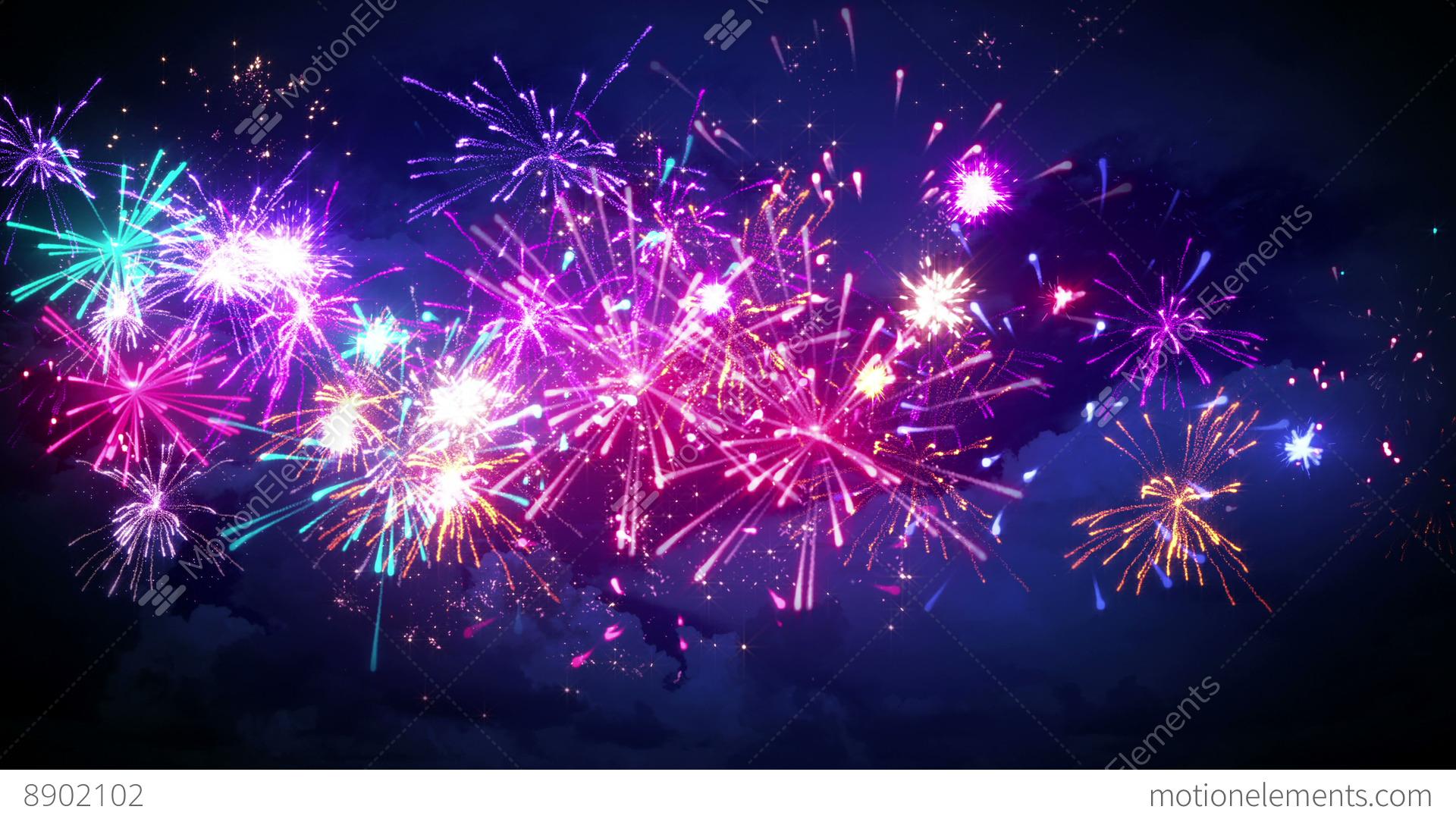 Beautiful Fireworks In Night Sky Seamless Loop Animation ...