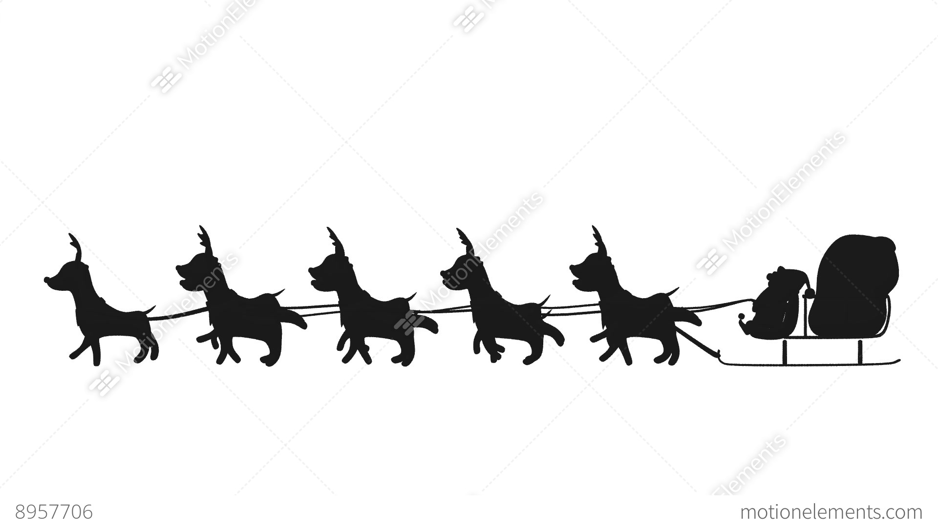 flying santa sleigh by reindeer animation design element