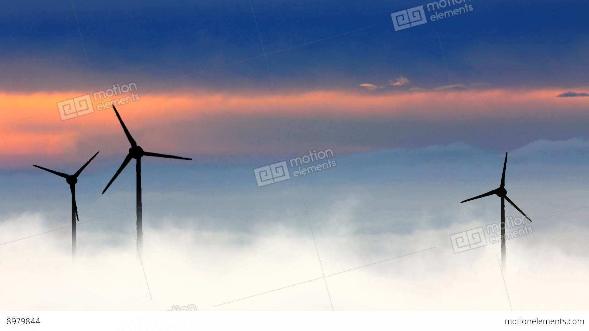Wind Turbine In Clouds Stock Animation 8979844