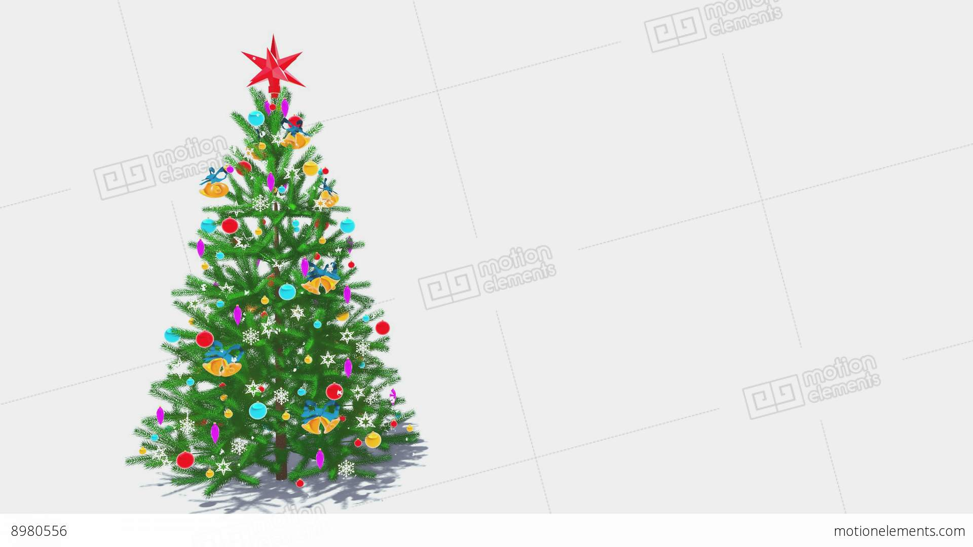 rotating decorated christmas tree on white background stock video footage - Christmas Decoration Video