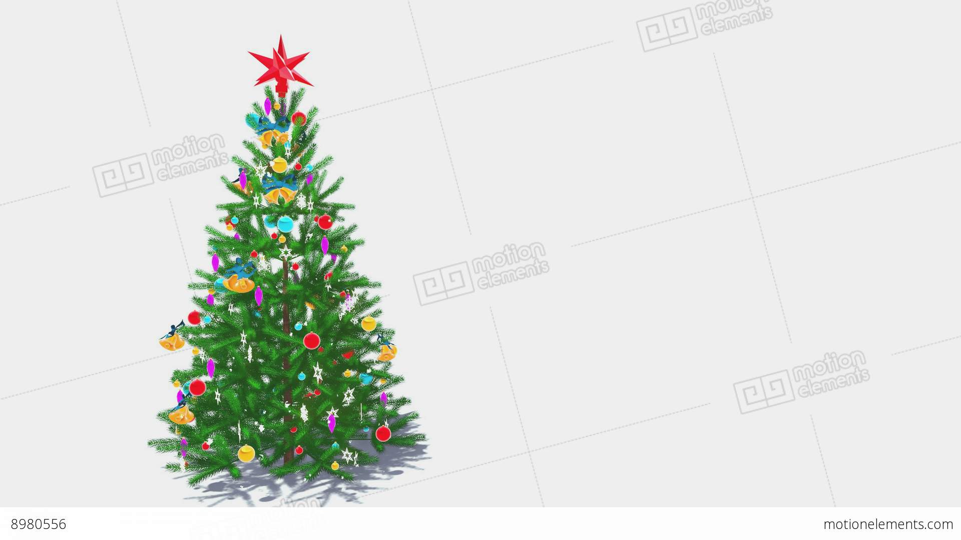 Rotating Decorated Christmas Tree On White Background Loop 4K Stock ...