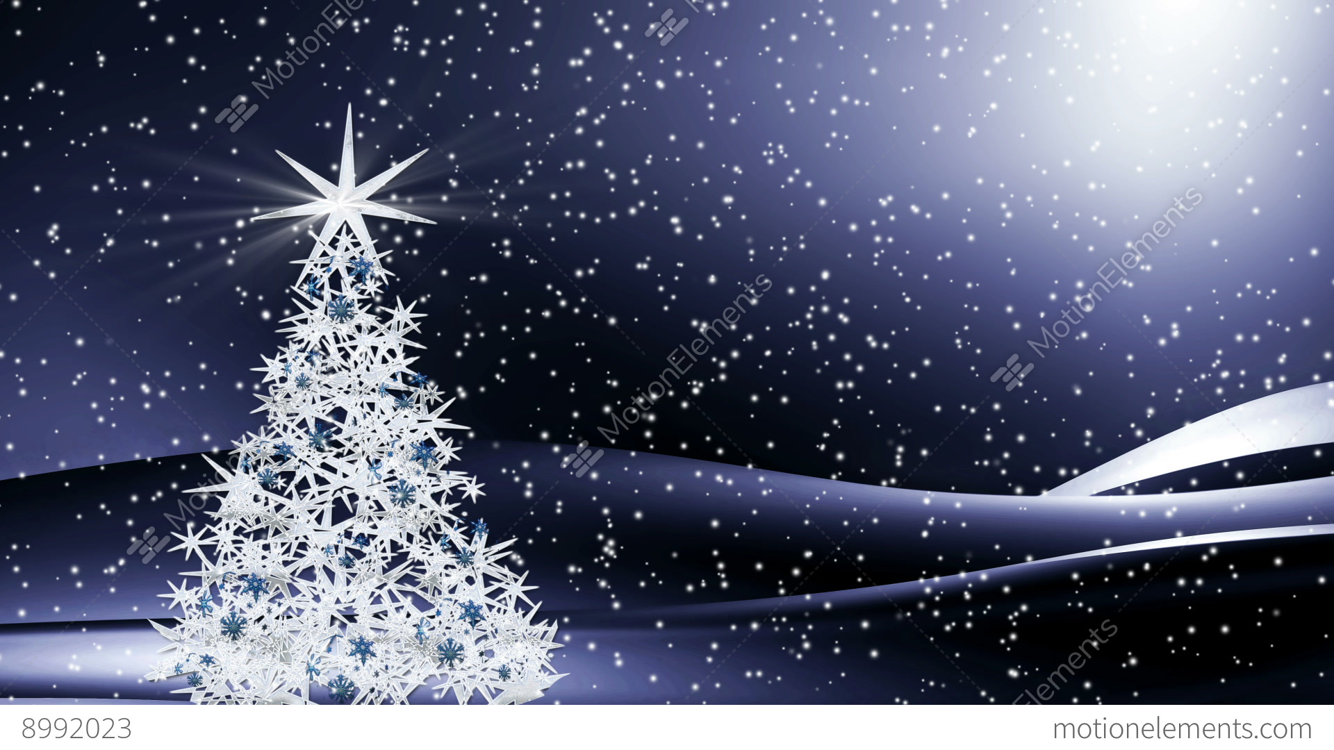 Sparkling Decorated Christmas Tree Shining In The Snowy Night Stock