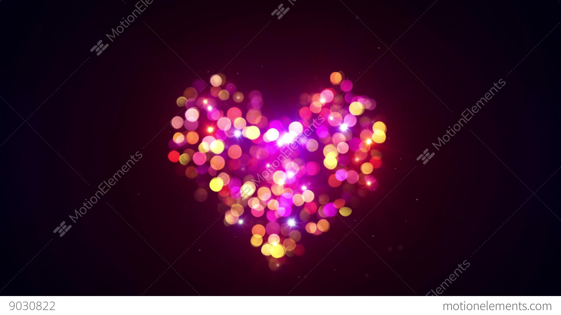 Bokeh Heart Shape Of Light Background Stock Footage Video: Colorful Bokeh Lights Heart Shape Loopable Animation 4k