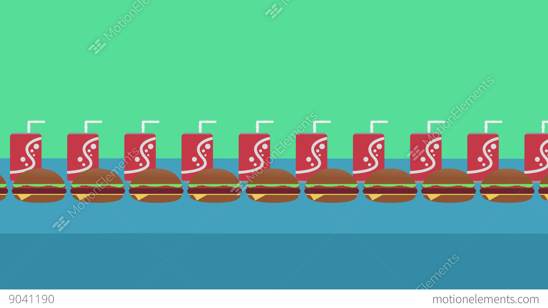 Fast Food Concept Seamless Looping Background Of Humbuggers And