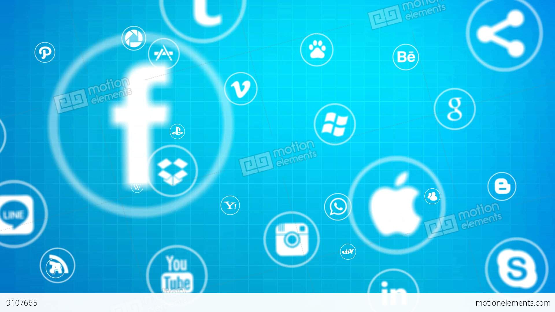 Social Media Icons Stock Animation | 9107665