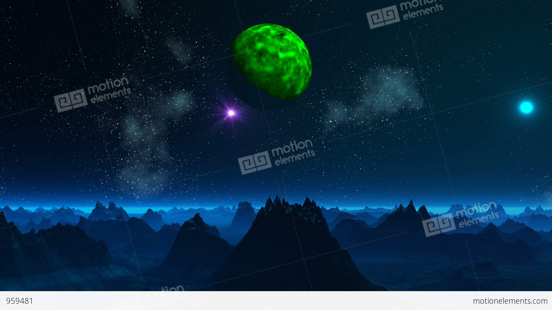 green planet and ufo in the sky of a fantastic planet stock
