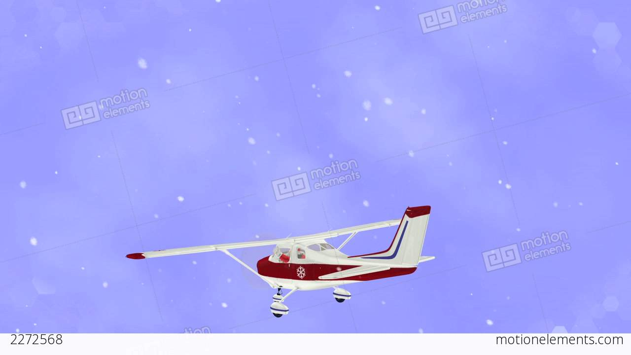 santa claus flying on airplane stock animation 2272568
