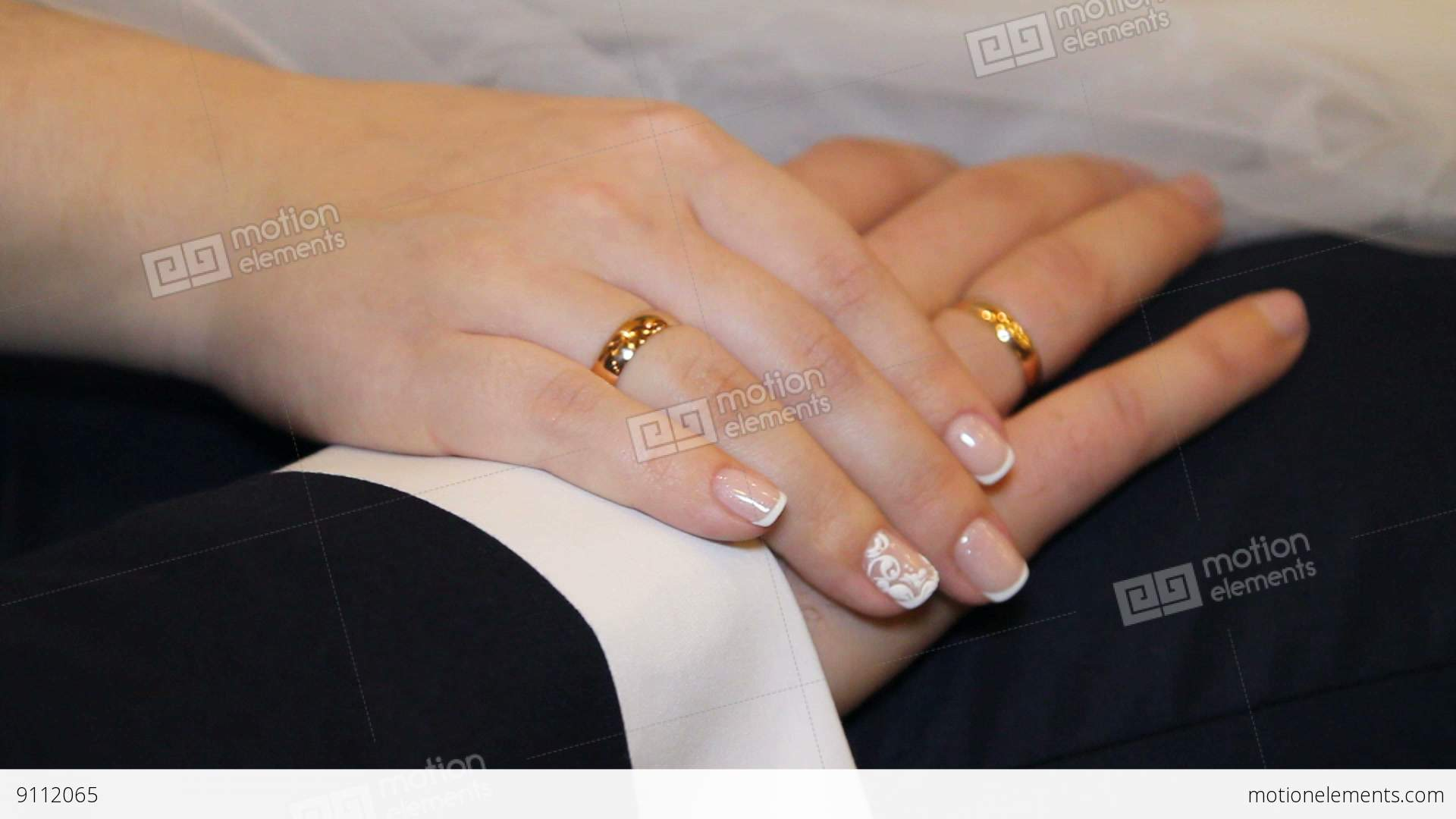 hands of bride and groom and wedding rings stock video footage - Wedding Rings On Hands